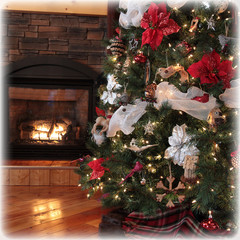 instgram of beautiful Chritsmas tree and fireplace