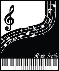 music inside black and white