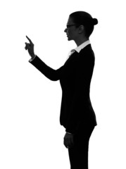 business woman touching copy sapce silhouette