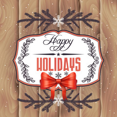 Vector holiday card on wood background