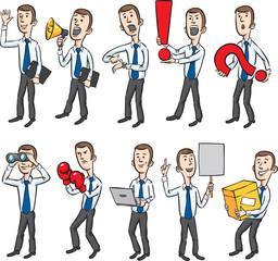 Cartoon businessman figures