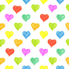Seamless pattern with colored hearts
