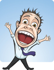 cartoon vector screaming business person