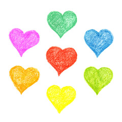 Set of hatched colourful hearts