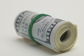 Gathered hundred dollar bill