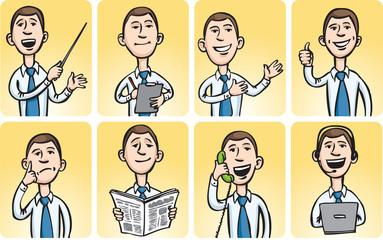 Set of images of businessman at work