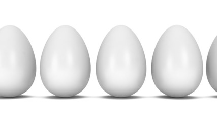 Golden egg in row of white eggs.