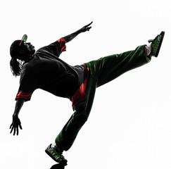 hip hop acrobatic break dancer breakdancing young man silhouette