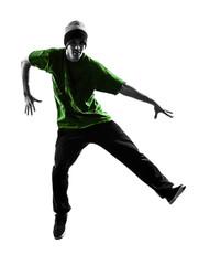 young acrobatic break dancer breakdancing man silhouette