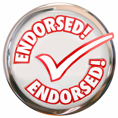 Endorsed Approved Check Mark Round Button Seal