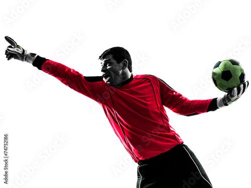 Papiers peints Jogging caucasian soccer player goalkeeper man pointing silhouette