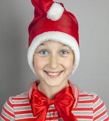 girl in red santa hat