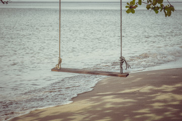 Swing on a tropical beach at Koh Chang island.Thailand