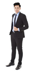 young businessman standing and isolated on white
