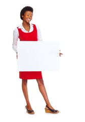 Young african american business woman with banner