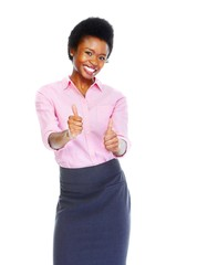 Happy african business woman