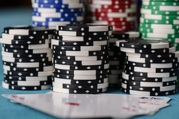 Stacked Poker Chips with Ace Card