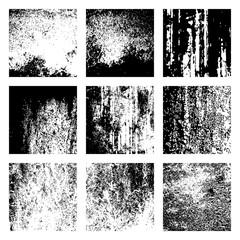 grunge texture overlay set, vector illustration