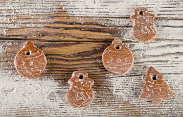 Christmas sweet  cookies on a wooden board