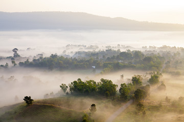 misty morning sunrise in mountain at Khao-kho Phetchabun,Thailan