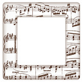 Music Notes Picture Frame, square copy space. - 74756981