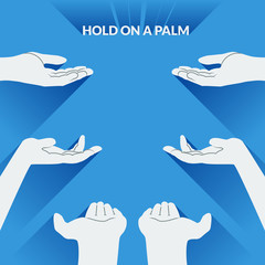 Flat palms of the hands for demonstration of any objects.