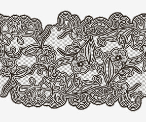 Abstract seamless lace ribbon with flowers
