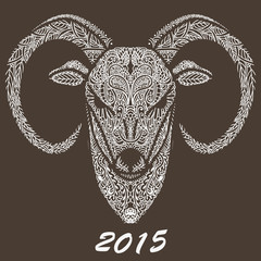 Patterned ram's head. Symbol of the new year