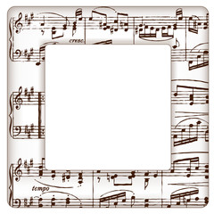 Music Notes Picture Frame, square copy space.