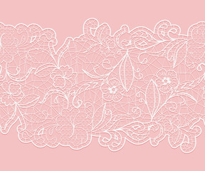 Delicate white seamless lace ribbon on a pink background.