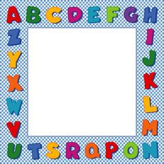 Alphabet Frame, square blue gingham check border, copy space