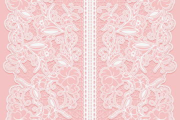 Wide white seamless lace ribbon on a pink background.