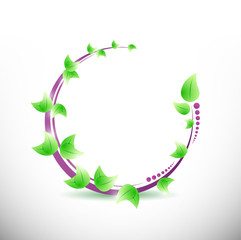 circle and green leaves. illustration