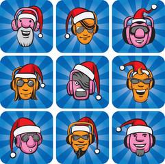 DJ faces in santa hats