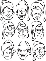 whiteboard drawing - funny men faces in santa hats