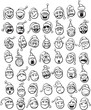 whiteboard drawing - big set of smilies in Santa hat