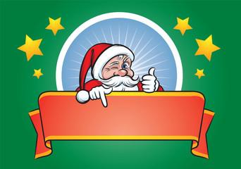Santa Claus pointing at blank label