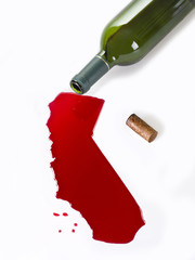 Wine Bottle fall, the content, so a map of california
