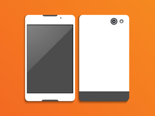 Stylish smartphone presentation with front and back view.