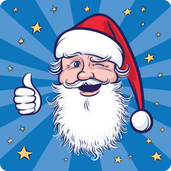 Cartoon Santa Claus winking and thumb up
