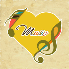 Yellow heart with musical notes.