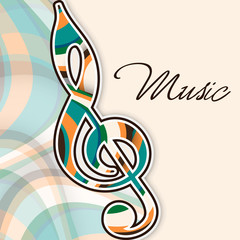 Colorful g-clef for musical background.