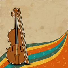 Musical instrument violin with bow.