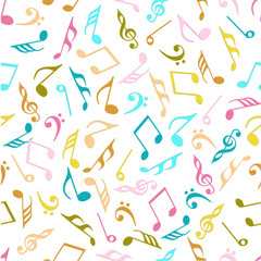 Seamless pattern with colorful musical notes.