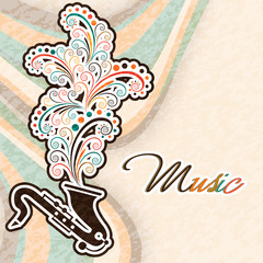 Musical instrument saxophone with colorful floral design.