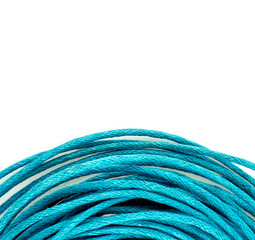 Spiral bright blue string rope background texture