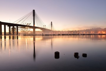 The New Port Mann Bridge at sunrise
