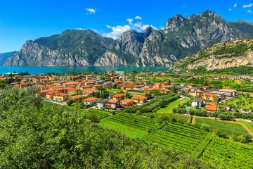Beautiful sunny day on Lake Garda,Torbole.Italy,Europe