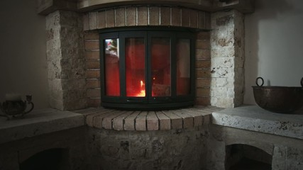 Fireplace burning with a warm feeling