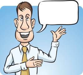 Businessman with speech bubble smiling and pointing